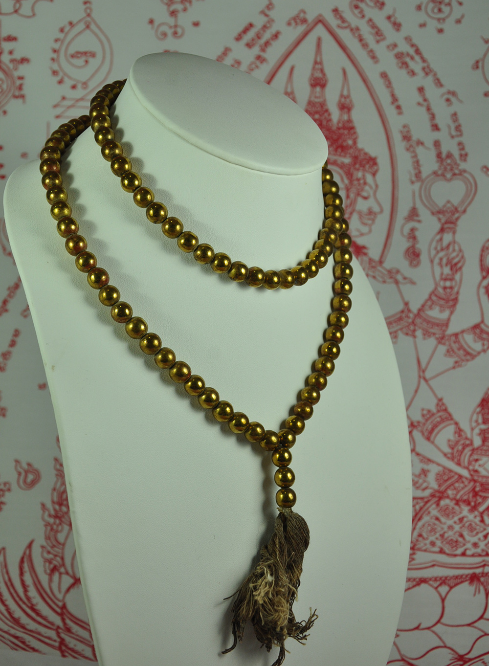 108 Beads Gold Mala Necklace Prayer Praying Leklai Top Thai Amulet jewelry Bead