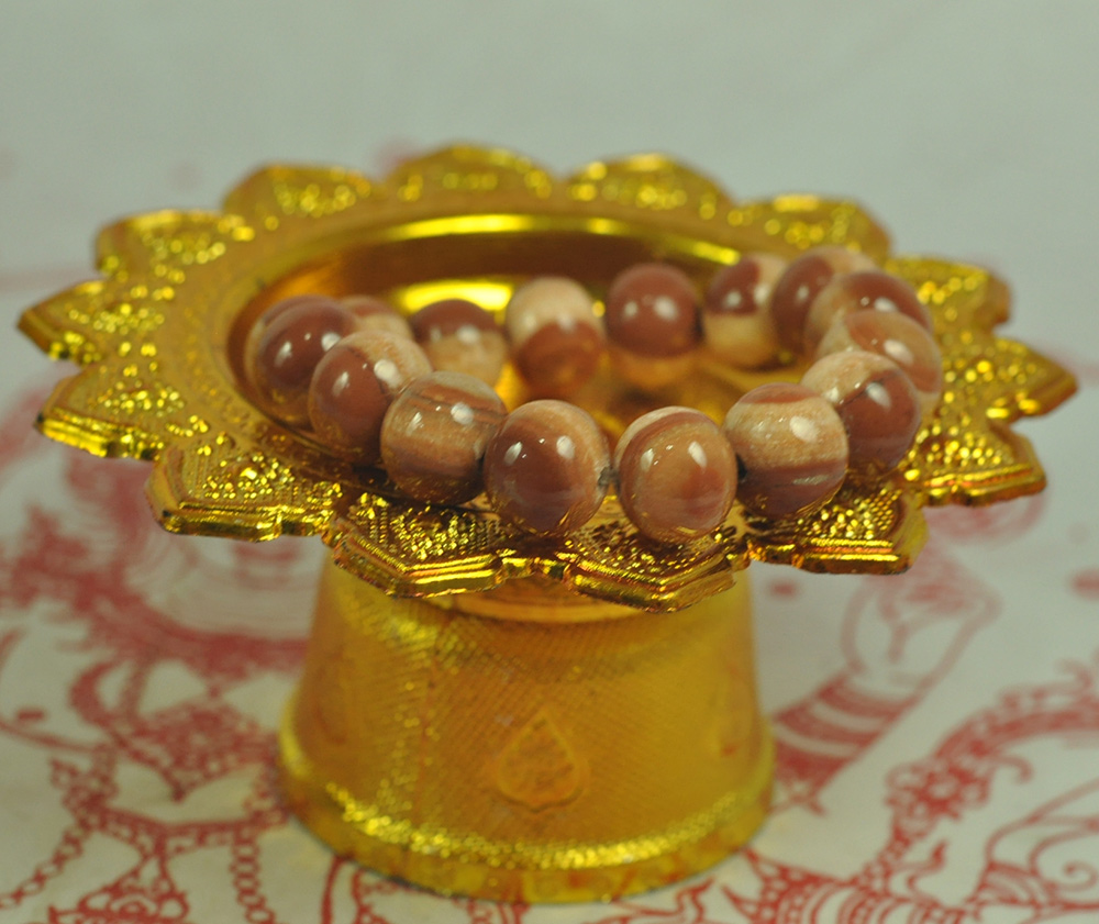 Asian Antiques Antiques Brave Natural Bracelet Cave Relics Stone Mineral Round Beads Buddha Thai Amulet Bangle