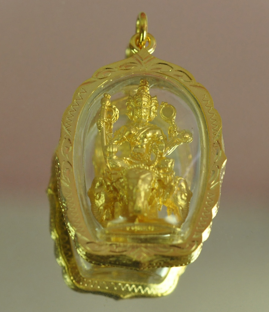 Phra Phrom Ride Elephant HINDU GOD BRAHMA VISHNU God 4 faces Pendant Thai Amulet