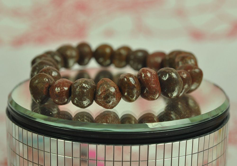Brave Natural Bracelet Cave Relics Stone Mineral Round Beads Buddha Thai Amulet Bangle Asian Antiques